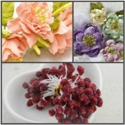 """Тычинки для цветов """"Кристалл"""" 60 шт (Бордовый)"""