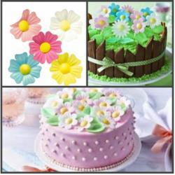 """Вафельные украшения для торта """"Цветы Шиповника"""" 10 шт"""