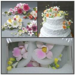 """Сахарные цветы """"Ветка Орхидеи"""" (розовый)"""
