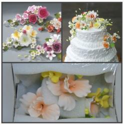 Сахарные цветы Ветка Орхидеи - 2 (персик) 1 шт