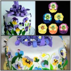 """Сахарные цветы """"Анютины глазки"""" (разноцветные) 3 шт"""