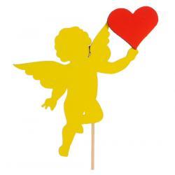 """Топпер для торта """"Ангел с красным сердцем"""" желтый"""