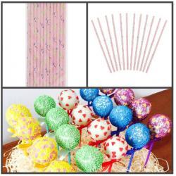 Бумажные палочки для кейк-попсов 12 шт (розовые туфельки)
