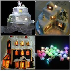 Мини лампочка круглая для украшения торта (LED) многоцветная 10 шт