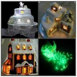 Мини лампочка круглая для украшения торта (LED) зеленый