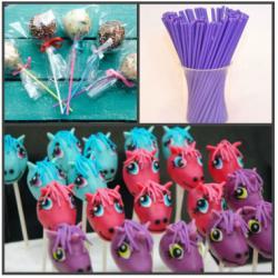 """Палочки для кейк-попсов пластиковые 15 см 50 шт """"Фиолетовый"""""""