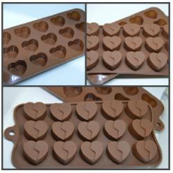 """Форма силиконовая для шоколада 15 ячеек """"Сердечки"""""""