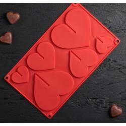 Форма для шоколада Сердечки 3D