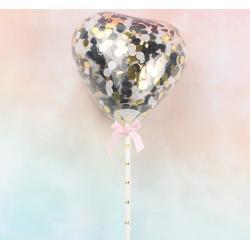 """Топпер для торта """"Воздушный мини шарик сердечко""""черный"""