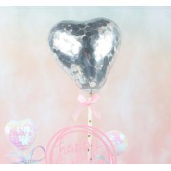 """Топпер для торта """"Воздушный мини шарик сердечко"""" серебро"""