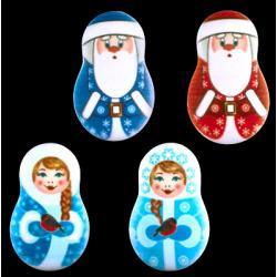 """Сахарные фигурки """"Дед Мороз и Снегурочка"""" 10 шт (плоские)"""