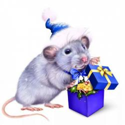 "Съедобная картинка на торт ""Год Крысы"" (21х20 см)"
