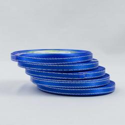 Лента синяя атласная с серебряной нитью
