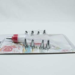 Мешок кондитерский силиконовый, переходник и 9 насадок