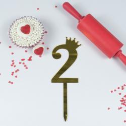 """Топпер для торта золотой зеркальный """"Цифра 2"""""""