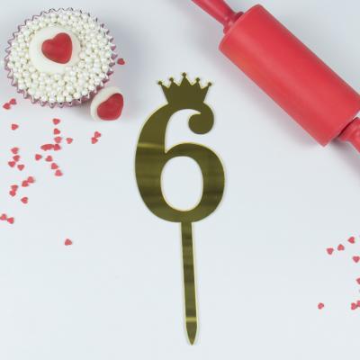 """Топпер для торта золотой зеркальный """"Цифра 6"""""""