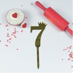 """Топпер для торта золотой зеркальный """"Цифра 7"""""""