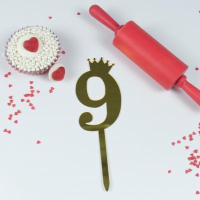 """Топпер для торта золотой зеркальный """"Цифра 9"""""""