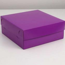 Упаковка для капкейков фиолетовая 25 х 25 х 10 см на 9 шт
