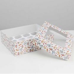 """Упаковка для капкейков """"Завтрак"""" 32,5 х 25,5 х 10 см на 12 шт"""
