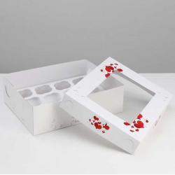 """Упаковка для капкейков """"Любовь это счастье"""" 32,5 х 25,5 х 10 см на 12 шт"""