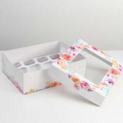"Упаковка для капкейков ""Цветы"" 32,5 х 25,5 х 10 см на 12 шт"