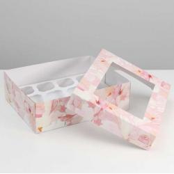 "Упаковка для капкейков ""Нежность"" 32,5 х 25,5 х 10 см на 12 шт"