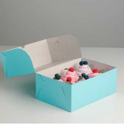 Упаковка для капкейков на 6 шт голубая 25 х 17 х 10 см