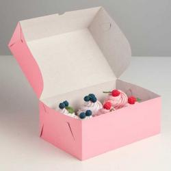 Упаковка для капкейков на 6 шт розовая 25 х 17 х 10 см