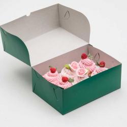Упаковка для капкейков на 6 шт зеленая 25 х 17 х 10 см