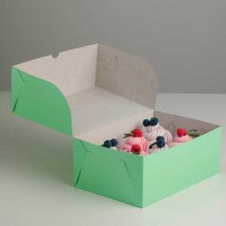 Упаковка для капкейков на 6 шт салатовая 25 х 17 х 10 см