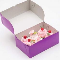 Упаковка для капкейков на 6 шт фиолетовая 25 х 17 х 10 см
