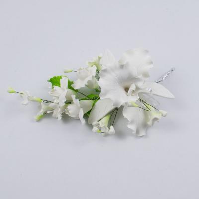 """Сахарные цветы """"Большая ветка Орхидеи Каттлеи"""" (белая)"""