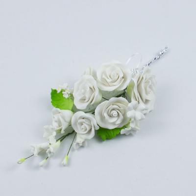"""Сахарные цветы """"Большая ветка Розы """" (белая)"""