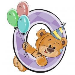 """Съедобная картинка на торт С Днем Рождения """"Мишка с ноликом"""""""