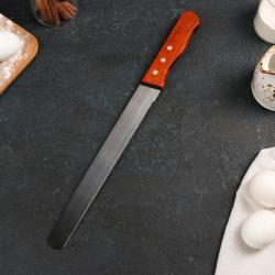 Нож для бисквита с мелкими зубцам 44 см деревянная ручка