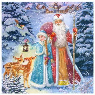 Съедобная картинка на торт Дед Мороз и Снегурочка