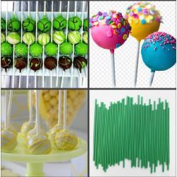 """Палочки для кейк-попсов пластиковые 15 см  50 шт """"Зеленый"""""""