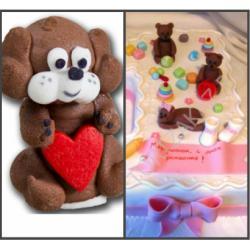 """Сахарная фигурка для торта """"Собачка с сердцем"""""""