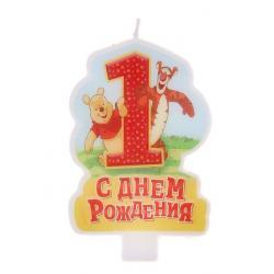 """Свеча в торт """"С днем рождения"""" цифра 1 """"Медвежонок Винни"""""""