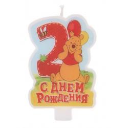 """Свеча в торт """"С днем рождения"""" цифра 2 """"Медвежонок Винни"""""""