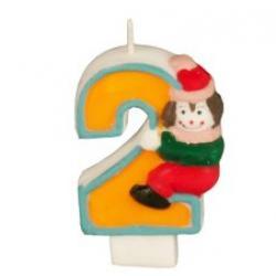 "Свеча на торт цифра с клоуном ""Два"""