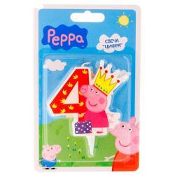 """Свеча для торта цифра """"4"""" """"Свинка пеппа"""""""