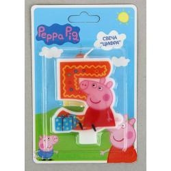"""Свеча для торта цифра """"5"""" """"Свинка пеппа"""""""