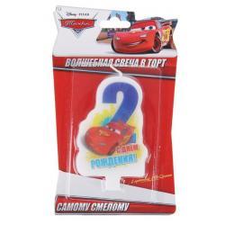 """Свеча для торта """"С днем рождения"""" цифра 2 """"Тачки"""""""