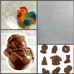 "Форма для шоколада ""Снеговик и петушок"""