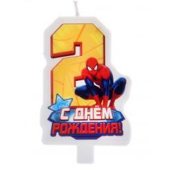 """Свеча для торта """"С днем рождения"""" цифра 2 """"Человек Паук"""""""