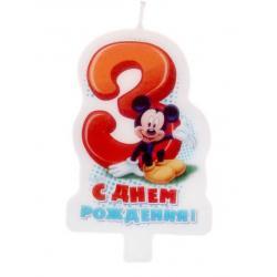 "Свеча для торта ""С днем рождения"" цифра 3 ""Микки Маус"""