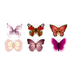 """Вафельные бабочки """"Весенние"""" 5 см (6 шт.)"""