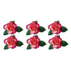 """Вафельные цветочки """"Роза с листочками"""" 6 см (6 шт)"""